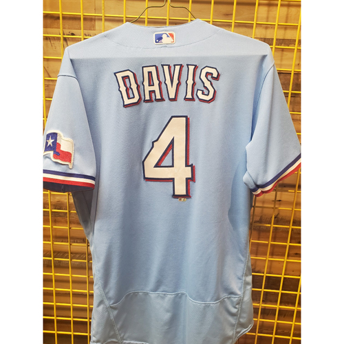 Photo of Khris Davis Game-Used Baby Blue Jersey - 6/6/21
