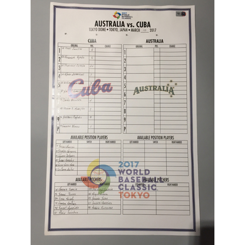 2017 WBC: Game-Used Line-Up Card - Australia vs Cuba - 3/10/17