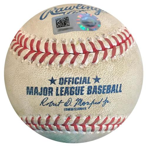 Photo of Game-Used Baseball from Pirates vs. Cardinals on 4/28/18 - Jose Martinez Double