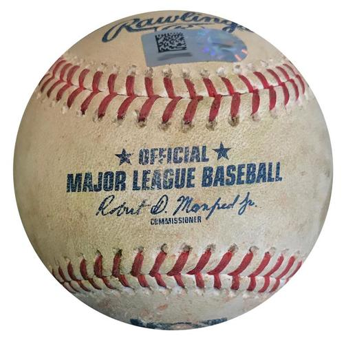 Photo of Game-Used Baseball from Pirates vs. Mets on 7/29/18 - Plawecki Grounds into Double Play, Guillorme Single, Wheeler Swinging Strike
