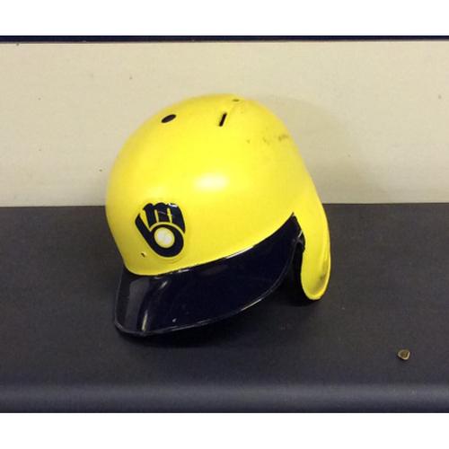 """Photo of Jesus """"EL CAUSA"""" Aguilar Game-Used 2018 Players Weekend Batting Helmet"""