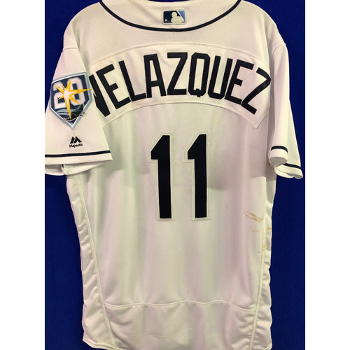 Photo of 20th Anniversary Game-Used Home Jersey: Andrew Velazquez - First MLB Hit - September 7, 2018 v BAL