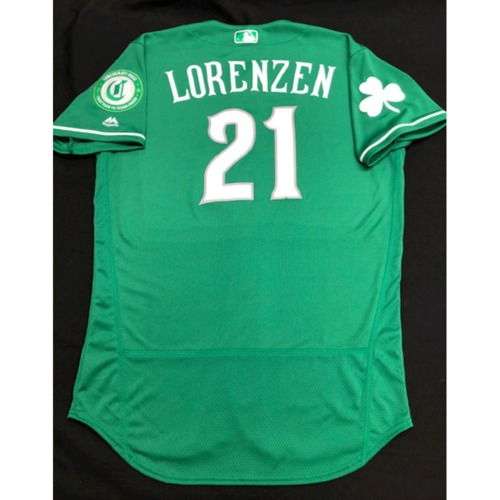 Photo of Michael Lorenzen -- Team-Issued Jersey -- 2019 St. Patrick's Day