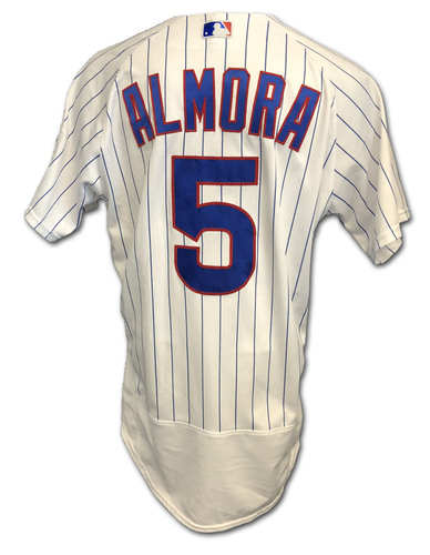 Photo of Albert Almora Game-Used Jersey -- Almora Collects 1 Hit -- Mother's Day 2019 -- Size 42 -- Brewers vs. Cubs -- 5/12/19