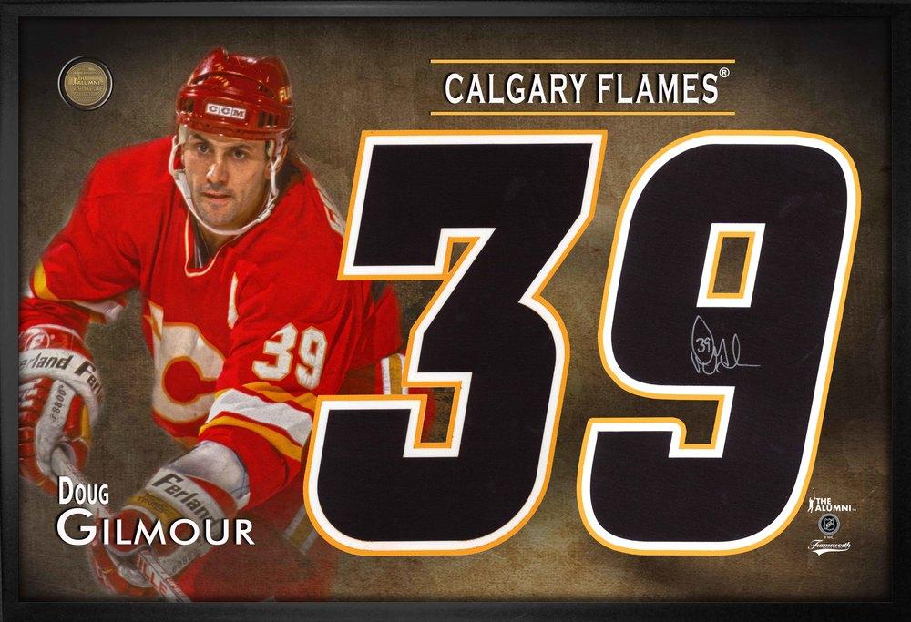 Doug Gilmour Signed Jersey Number Framed Print Flames Red