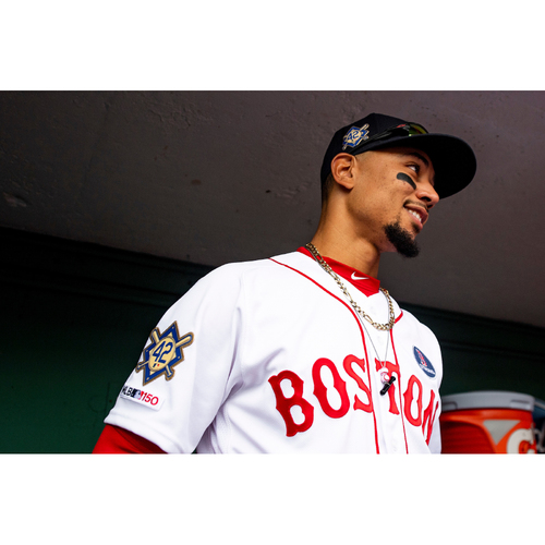 Photo of Red Sox Foundation Jackie Robinson Day - Mookie Betts Game-Used and Autographed Jersey