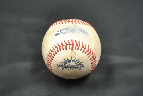 Photo of Game-Used Baseball: 2019 Arizona Fall League - Pitcher: Gerardo Carrillo (LAD), Batters: Alec Bohm (PHI) - Single - Top 6 - 10/06/2019