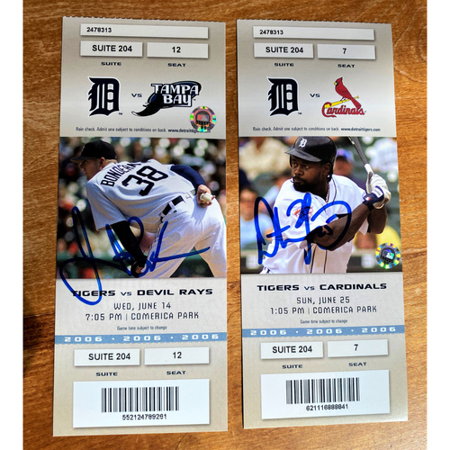 Photo of Jeremy Bonderman and Dmitri Young Autographed Detroit Tigers 2006 Suite Ticket Collection (MLB AUTHENTICATED)