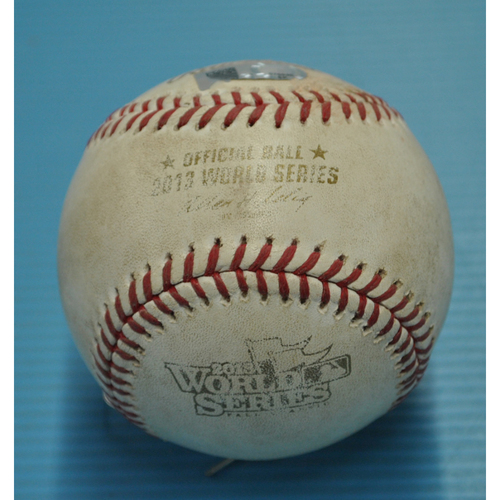 Photo of Game-Used Baseball - 2013 World Series - Boston Red Sox vs. St. Louis Cardinals - Batter - Yadier Molina, Pitcher - Brandon Workman - Top 8 - Pitch in the Dirt - 10/30/2013