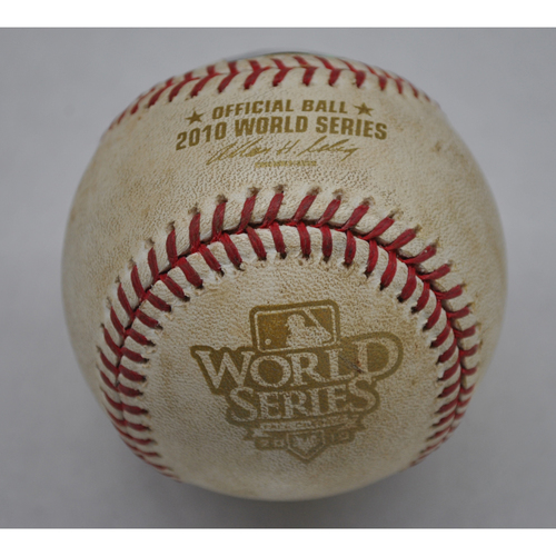 Photo of Game-Used Baseball - 2010 World Series - Texas Rangers vs. San Francisco Giants - Top of 2: Pitcher - Tim Lincecum, Batter - Cliff Lee, Double to CF - Game 1 - 10/27/2010