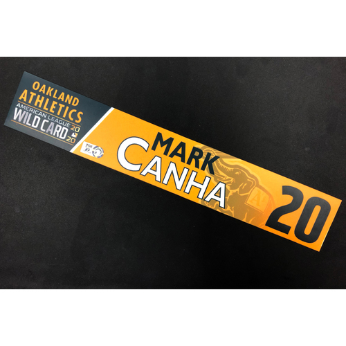 Photo of Game-Used 2020 A.L. Wild Card Locker Nameplate - Mark Canha
