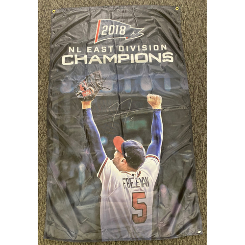 Photo of Freddie Freeman Autographed 2018 NL East Champions Flag