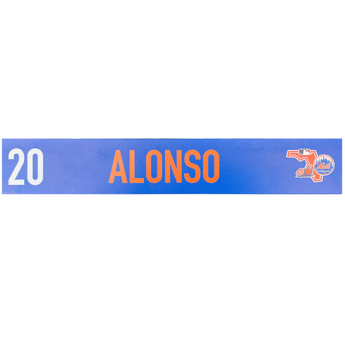 Photo of Pete Alonso #20 - Game Used Locker Nameplate - 2020 Spring Training - Mets vs. Cardinals - 2/23/20