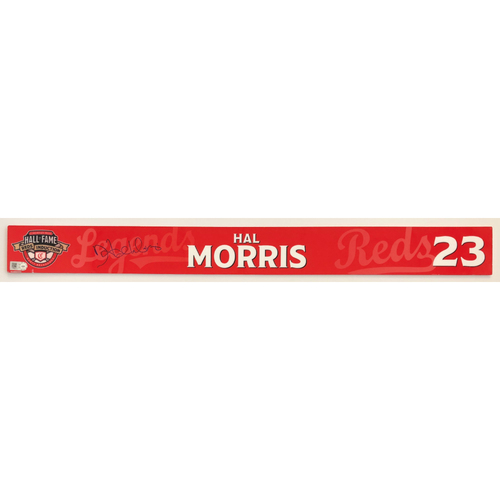 Photo of Hal Morris - Game-used and Autographed Locker Name Plate: 2021 Cincinnati Reds Hall of Fame Legends Game
