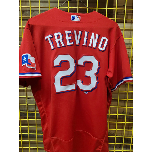 Photo of Jose Trevino Game-Used Red Jersey - 4/30/21