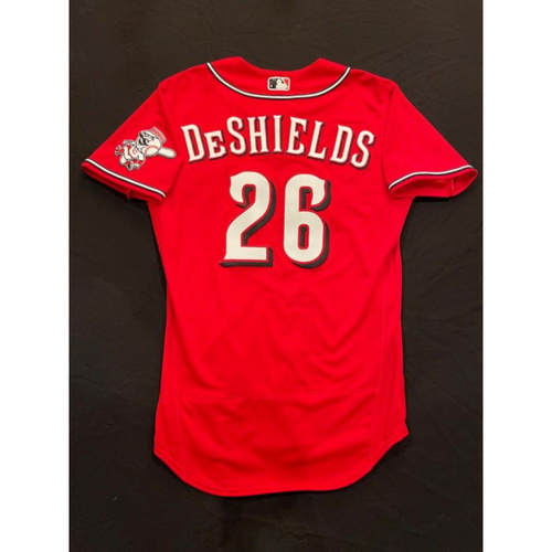 Photo of Delino DeShields Jr -- 2021 Los Rojos Jersey -- Game Used from Sept 24 (Pinch Hitter: Went 1-for-1, HR-1, RBI, R) -- Recorded First HR as a Red -- Size: 42