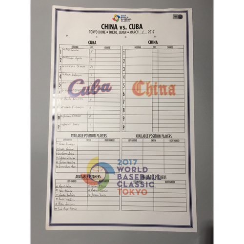 2017 WBC: Game-Used Line-Up Card - China vs. Cuba, Round 1 - 3/8/17