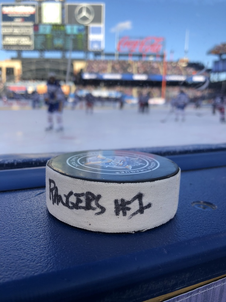 Paul Carey New York Rangers Game-Used Goal Puck from the 2018 Winter Classic on January 1, 2018 vs. Buffalo Sabres