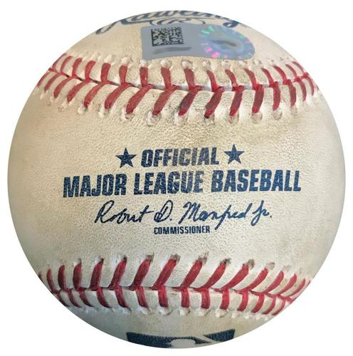 Photo of Game-Used Baseball from Pirates vs. Cardinals on 4/29/18 - Yadier Molina Single on 15 Pitch of At Bat - Nick Kingham MLB Debut