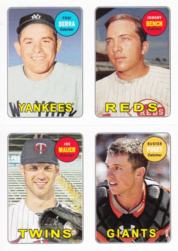 Photo of 2013 Topps Archives Four-In-One #BBMP Yogi Berra/Johnny Bench/Joe Mauer/Buster Posey