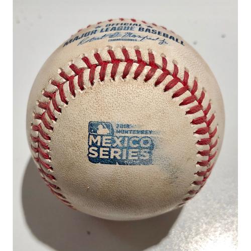 Photo of 2019 Mexico Series - Game Used Baseball - Batter: Matt Carpenter Pitcher : Tanner Roark - Triple