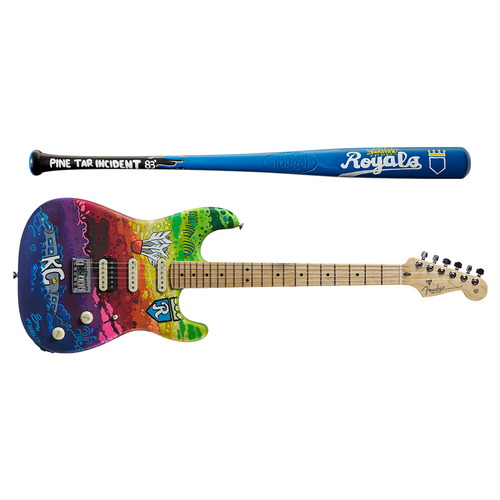 Photo of One-of-a-kind Artist-Painted Royals Louisville Slugger Bat and Fender Stratocaster Guitar