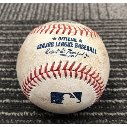 Photo of 2019 Game Used Baseball used on 8/5 vs. WSH - T-3: Jeff Samardzija to Anthony Rendon - RBI Single to CF ( Adam Eaton Scores)