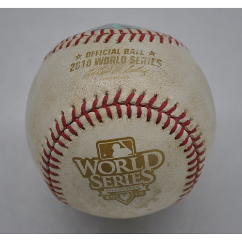 Photo of Game-Used Baseball - 2010 World Series - Texas Rangers vs. San Francisco Giants - Pitcher - Colby Lewis, Batter - Pablo Sandoval - Hit the Dirt, Struck out Swinging, Out at 1st - Top of 5th - Game 3 - 10/30/2010