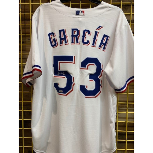 Photo of Adolis Garcia AUTOGRAPHED Replica Home White Jersey