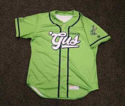 Stockton Ports Grant Judkins Asparagus jersey, #10, Size 46