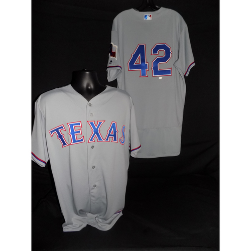 Photo of Adrian Beltre Team Issued Grey #42 Jersey - Size 46