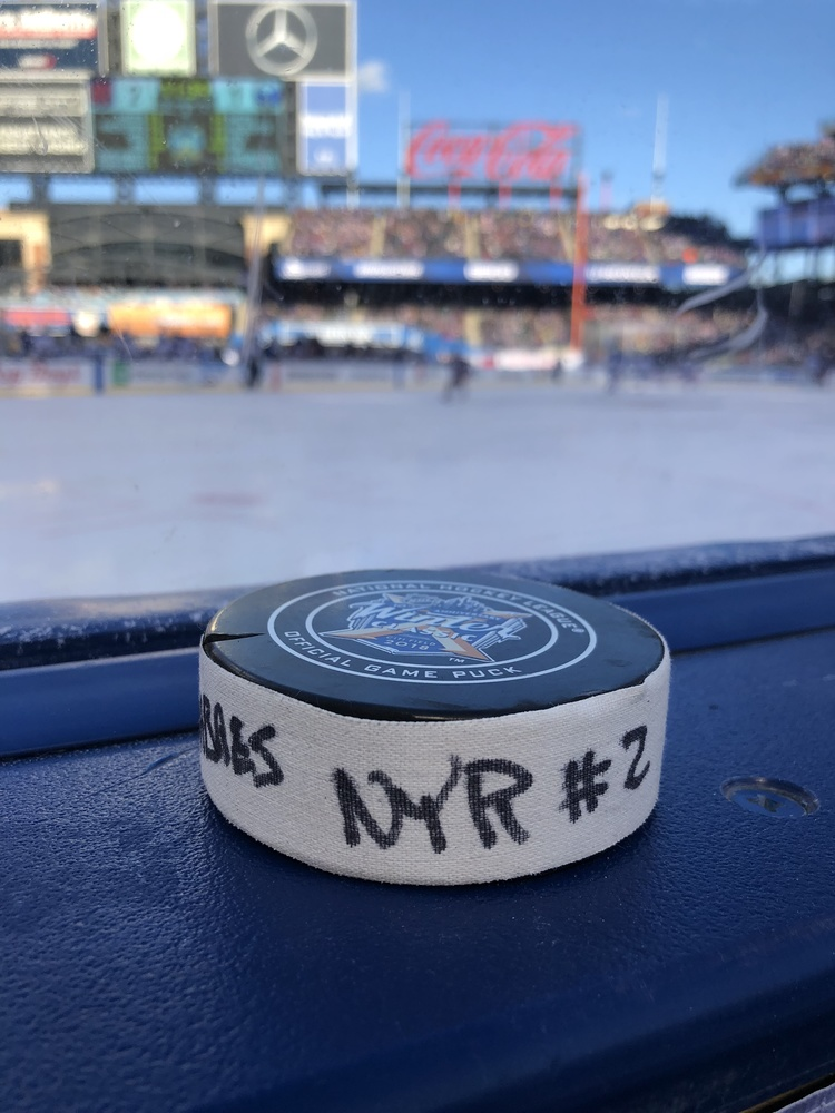 Michael Grabner New York Rangers Game-Used Goal Puck from the 2018 Winter Classic on January 1, 2018 vs. Buffalo Sabres