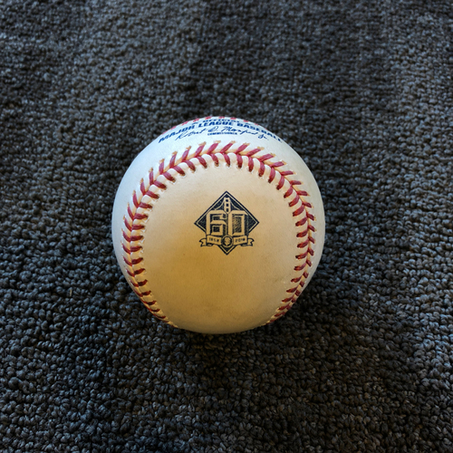 Photo of San Francisco Giants - 2018 Game Used Baseball - 9/12/18 vs ATL - T-6: Derek Holland to Ozzie Albies - Double to LF