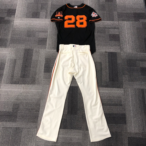 Photo of 2018 Team Issued Black Gigantes Jersey and Team Issued Pants - #28 Buster Posey - Jersey Size 46 & Pants Size 34-44-34