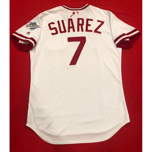 Photo of Eugenio Suarez -- Game-Used 1990 Throwback Jersey (Starting 3B: Went 1-for-5, HR-34, RBI, R) -- Established New Single-Season Career High with 34th Homer of 2019 -- Cardinals vs. Reds on Aug. 18, 2019 -- Jersey Size 46