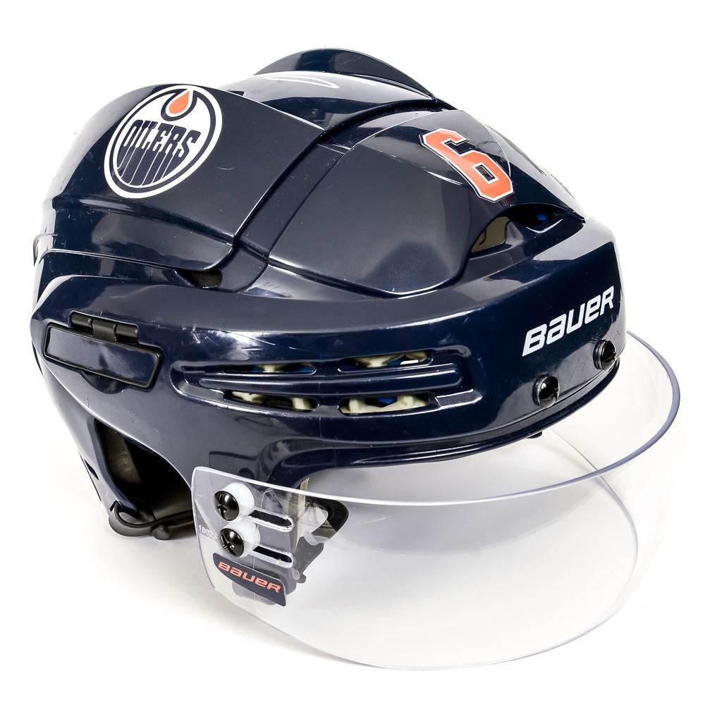 Adam Larsson #6 - Autographed 2018-19 Edmonton Oilers Game-Worn Navy Blue Bauer Helmet (Second Half Of Season)