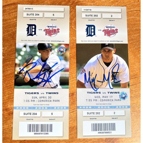 Photo of Brandon Inge and Mike Maroth Autographed Detroit Tigers 2006 Suite Ticket Collection (MLB AUTHENTICATED)