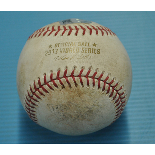 Photo of Game-Used Baseball - 2013 World Series - Boston Red Sox vs. St. Louis Cardinals - Batter - Yadier Molina, Pitcher - Brandon Workman, Top 8, wild pitch - Game 2 - 10/24/2013