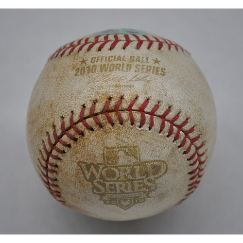 Photo of Game-Used Baseball - 2010 World Series - Texas Rangers vs. San Francisco Giants - Pitcher - Tommy Hunter, Batter - Andres Torres - Single - Top of 1 - Game 4 - 10/31/2010