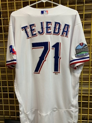 Photo of Anderson Tejeda Team-Issued 2020 White Jersey With Globe Life Field Inaugural Season Patch