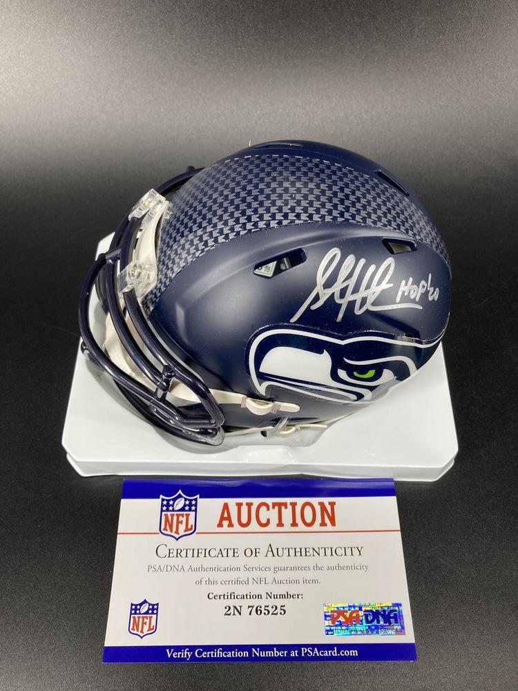 HOF - Seahawks Steve Hutchinson Signed Authentic Mini Helmet with