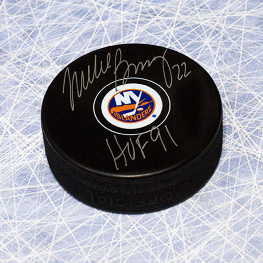 Mike Bossy New York Islanders Autographed Hockey Puck with HOF Note