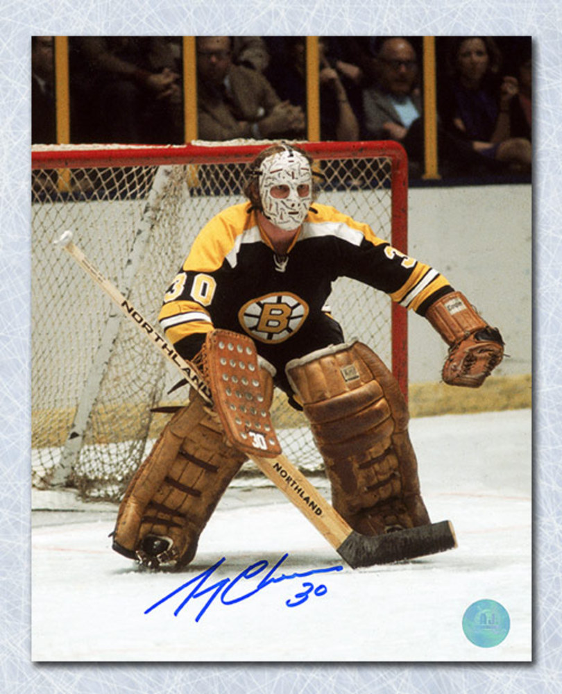 Gerry Cheevers Boston Bruins Autographed Vintage Game Action 8x10 Photo