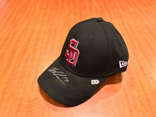 Photo of Austin Meadows Autographed and Game-Used Marjory Stoneman Douglas Eagles Cap