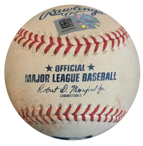 Photo of Game-Used Baseball from Pirates vs. Cubs on 7/31/18 - Addison Russell RBI Double, Out Trying to Advance to 3rd