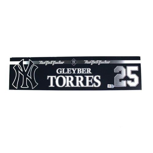 Photo of Gleyber Torres New York Yankees 2018 Game Used #25 Locker Room Nameplate (5/30/2018)