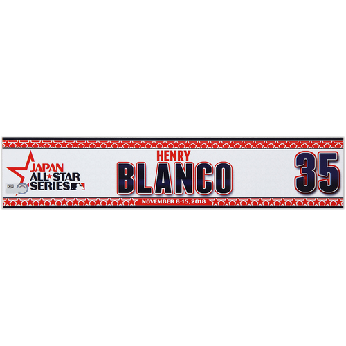 Photo of 2018 Japan Series Game-Used Locker Tag - Henry Blanco -  Nationals
