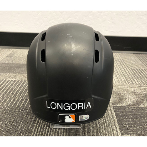 Photo of 2018 Game-Used Batting Helmet worn by #10 Evan Longoria on 9/30 vs. Los Angeles Dodgers - Size 7 1/4