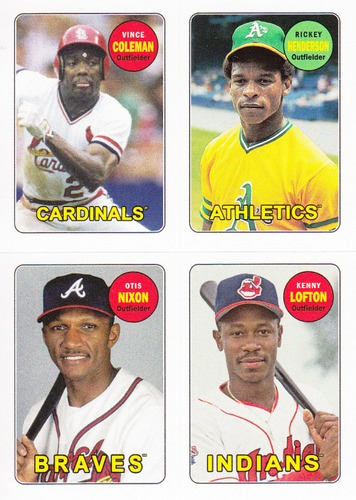 Photo of 2013 Topps Archives Four-In-One #CHNL Vince Coleman/Rickey Henderson/Otis Nixon/Kenny Lofton
