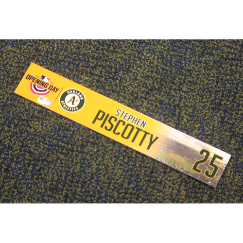 Photo of Team Issued 2019 Opening Day Locker Nameplate - Stephen Piscotty